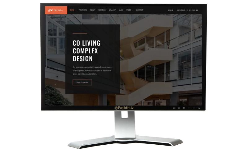 Mājas lapu izstrāde, būvniecības, interjera dizaina firma